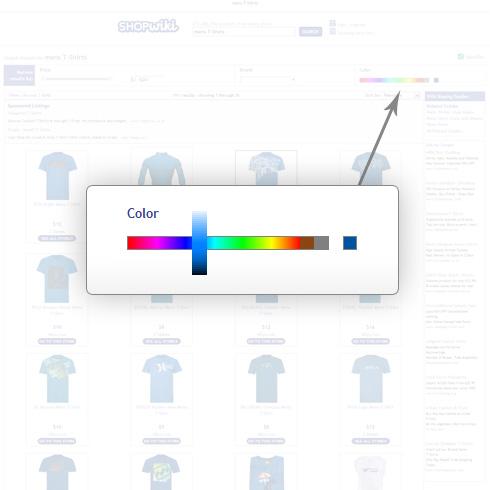 Barra de Shopwiki para ordenar resultados según colores de la imagen