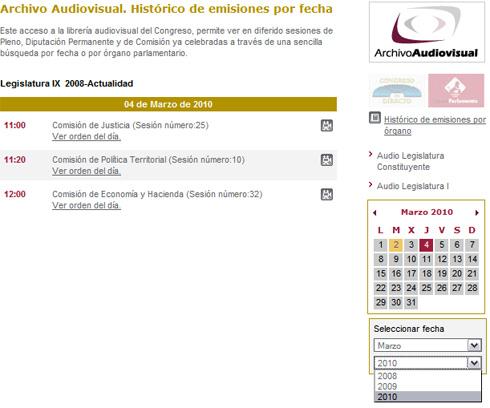 Captura de pantalla de Congreso TV (Congreso.es - web del congreso España), donde queda patente la asuencia de un buscador.