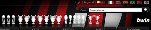 Menú de Idimas de la web oficial del A.C. Milán