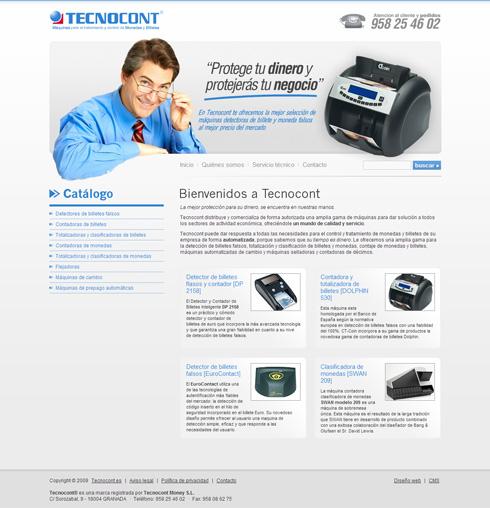 Web de Tecnocont - Detectores de Billetes Falsos